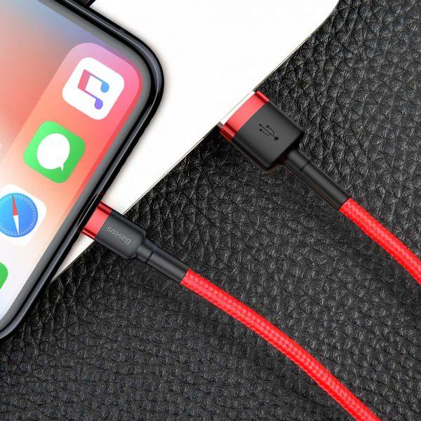 Baseus Cafule Cable wytrzymały nylonowy kabel przewód USB  Lightning QC3.0 2.4A 1M czerwony