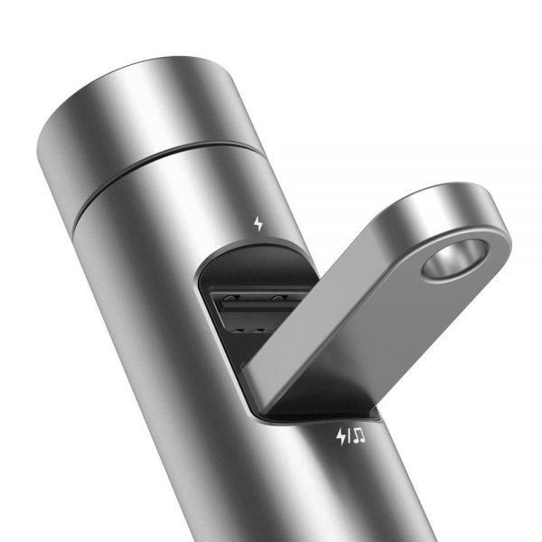 Baseus Energy Column Transmiter FM Bluetooth 5.0 ładowarka samochodowa 2x USB 3,1A QC3.0 SREBRNY