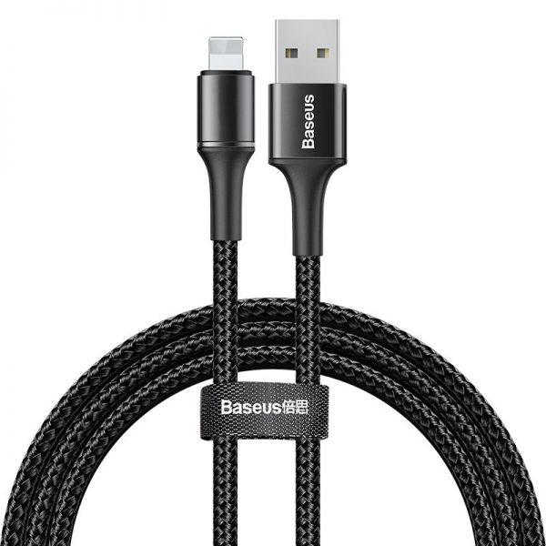 Baseus Halo Data Cable podświetlany nylonowy kabel przewód USB Lightning z diodą LED 2.4A 1m CZARNY
