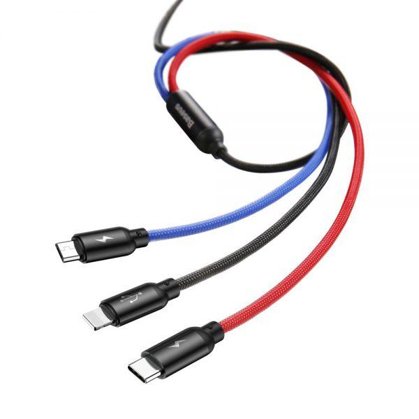 Baseus Three Primary Colors kabel 3w1 USB – micro USB  Lightning  USB-C w nylonowym oplocie 3.5A 1,2M CZARNY
