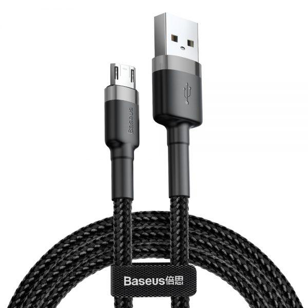 Baseus Cafule Cable wytrzymały nylonowy kabel przewód USB  micro USB QC3.0 1.5A 2M czarno-szary