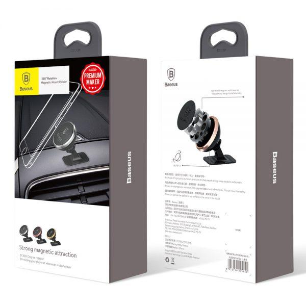 Baseus 360-Degree przyklejany magnetyczny uchwyt samochodowy do telefonu srebrny