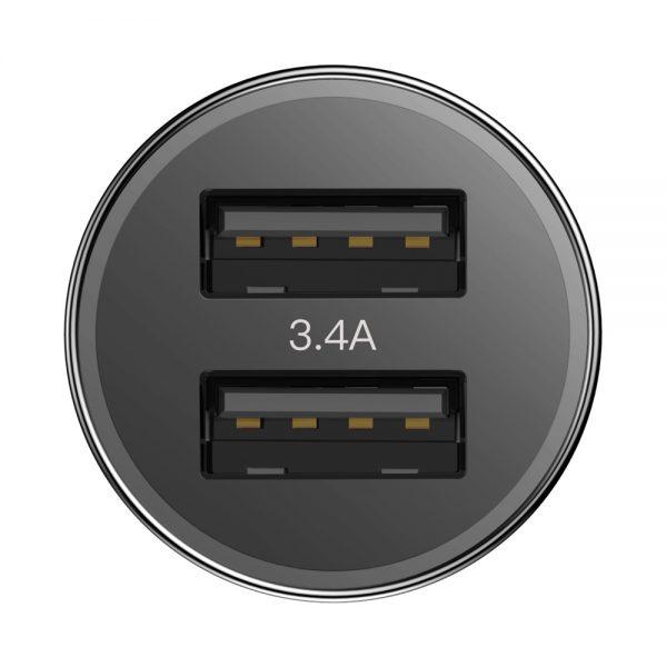 Baseus Small Screw 3.4A inteligentna ładowarka samochodowa 2x USB CZARNA