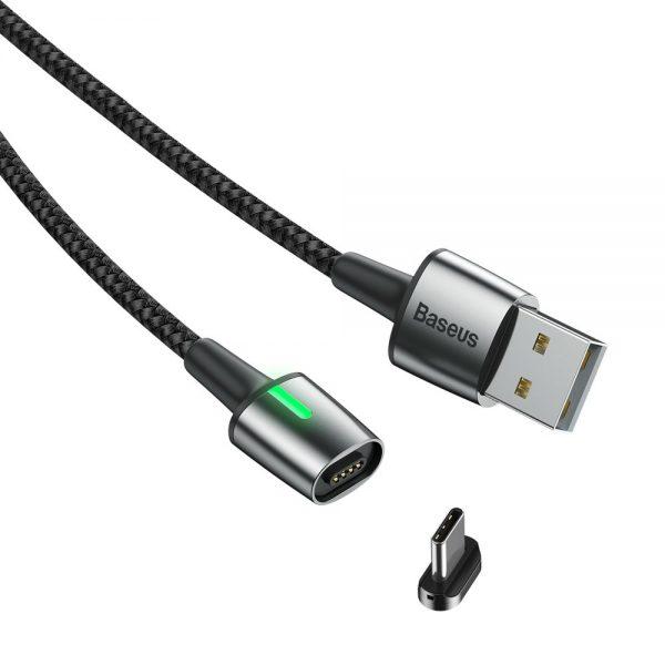 Baseus Zinc magnetyczny przewód kabel USB,USB Typ-C 1m 3A czarny