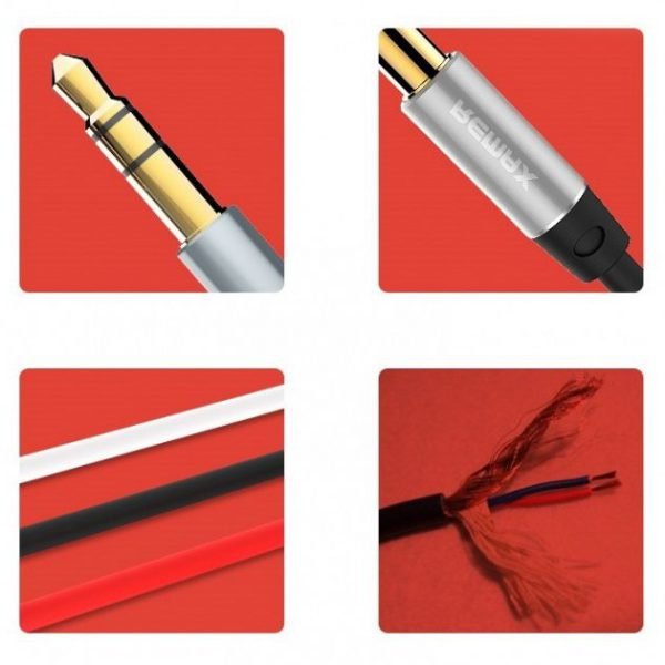 REMAX kabel , przewód AUX mini jack 2m CZARNY