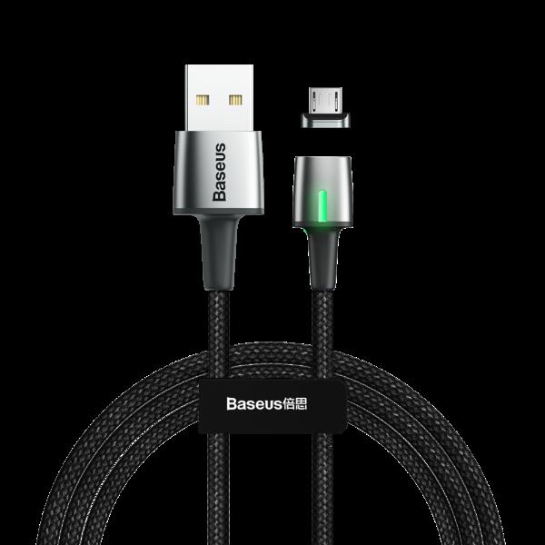 Baseus Zinc magnetyczny kabel przewód USB  micro USB 1m 2.4A CZARNY