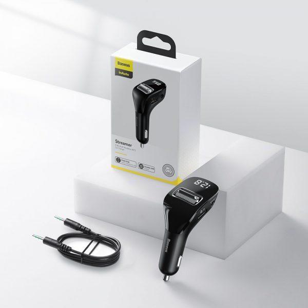 Baseus F40 nadajnik transmiter FM audio Bluetooth port AUX ładowarka samochodowa 2x USB 15W 2A CZARNY