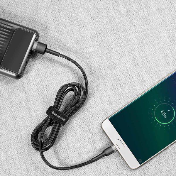 Baseus Cafule Cable wytrzymały nylonowy kabel przewód USB  micro USB QC3.0 2.4A 1M czarno-szary