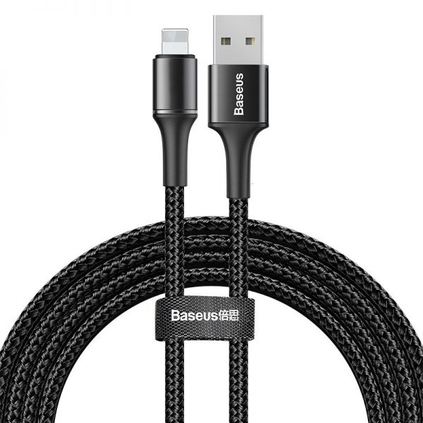 Baseus Halo Data Cable podświetlany nylonowy kabel przewód USB Lightning z diodą LED 1.5A 2m CZARNY